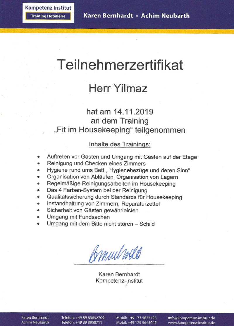 Bescheinigung_Housekeeping